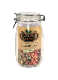 Harvest Keeper Glass Storage Jar w/ Metal Clamp Lid -  48 oz
